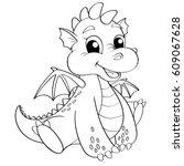 Cute Cartoon Dragon. Black And...