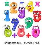 cute number characters. emoticon