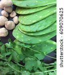 nopal with potatoes and parsley ... | Shutterstock . vector #609070625