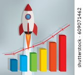 business chart with a rocket... | Shutterstock .eps vector #609071462
