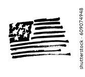 "hand drawn american flag ""stars ... | Shutterstock .eps vector #609074948"