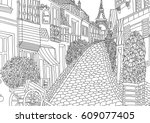 coloring for adult with paris.... | Shutterstock .eps vector #609077405