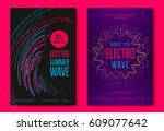 electro summer wave music... | Shutterstock .eps vector #609077642