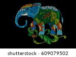 embroidery indian elephant ... | Shutterstock .eps vector #609079502