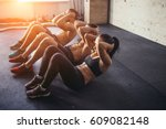 group of athletic adult men and ... | Shutterstock . vector #609082148