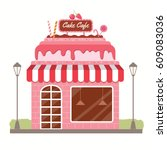 vector graphic of the pink cafe ... | Shutterstock .eps vector #609083036
