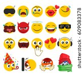 set of emoticons with different ... | Shutterstock .eps vector #609083378