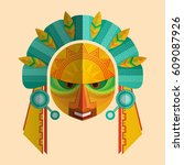 image of a mask of the mayans... | Shutterstock .eps vector #609087926