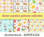 cute easter seamless pattern... | Shutterstock .eps vector #609091226