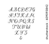 hand lettering font. vector... | Shutterstock .eps vector #609093842