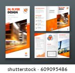 Tri fold brochure design. Orange DL Corporate business template for try fold brochure or flyer. Layout with modern elements and abstract background. Creative concept folded flyer or brochure. | Shutterstock vector #609095486