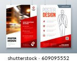 poster design. a3  a2  a1. red... | Shutterstock .eps vector #609095552