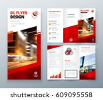 tri fold brochure design. red... | Shutterstock .eps vector #609095558
