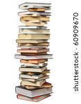 High Books Stack Isolated On...