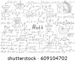 mathematical formulas drawn by... | Shutterstock .eps vector #609104702