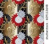 Floral Seamless Pattern. Gold...