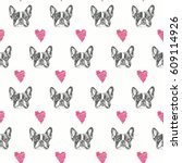 french bulldog seamless pattern. | Shutterstock .eps vector #609114926