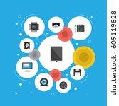 flat diskette  slot machine ... | Shutterstock .eps vector #609119828