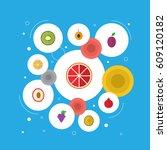 flat garnet  citrus  nectarine... | Shutterstock .eps vector #609120182