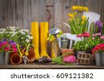 gardening tools and flower on...   Shutterstock . vector #609121382