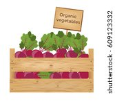 wooden boxes of beetroots.... | Shutterstock .eps vector #609123332