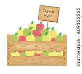 wooden box of apples. organic...   Shutterstock .eps vector #609123335