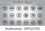zodiac icons set. zodiac signs...   Shutterstock .eps vector #609127292