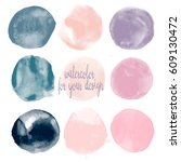 set of watercolor shapes.... | Shutterstock .eps vector #609130472