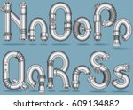 metal pipe alphabet letters set.... | Shutterstock . vector #609134882