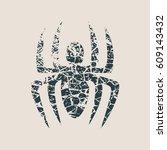 spider icon. cracked grunge... | Shutterstock .eps vector #609143432