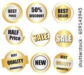 set of sale  buy now  new  half ... | Shutterstock .eps vector #609143945