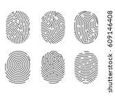 set of fingerprint types with... | Shutterstock .eps vector #609146408