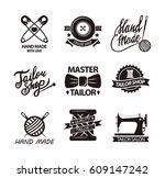 set of logos for handmade shops.... | Shutterstock .eps vector #609147242