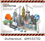 building under construction... | Shutterstock .eps vector #609152732