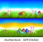 easter theme with  above the... | Shutterstock .eps vector #609156362