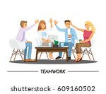 team teamwork join hands... | Shutterstock .eps vector #609160502