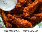 hot wings with ranch dip | Shutterstock . vector #609162962