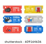 cartoon cinema tickets small... | Shutterstock .eps vector #609164636