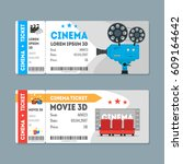 cartoon cinema tickets big set... | Shutterstock .eps vector #609164642