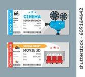 cartoon cinema tickets big set... | Shutterstock .eps vector #609164642