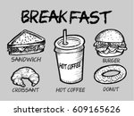 breakfast food and drink | Shutterstock .eps vector #609165626
