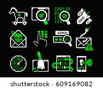 hacking icons set   Shutterstock .eps vector #609169082