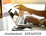 workdesk of laptop and... | Shutterstock . vector #609169235