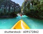 kayak in the island lagoon... | Shutterstock . vector #609172862