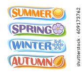 vector horizontal banners four... | Shutterstock .eps vector #609173762