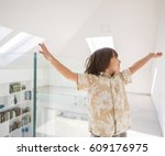 cute little boy at new modern... | Shutterstock . vector #609176975