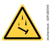 vector yellow triangle safety... | Shutterstock .eps vector #609180545