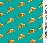 pizza seamless pattern vector... | Shutterstock .eps vector #609185978