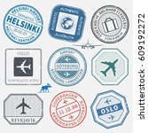 travel stamps or adventure... | Shutterstock .eps vector #609192272