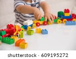 close up of child's hands... | Shutterstock . vector #609195272